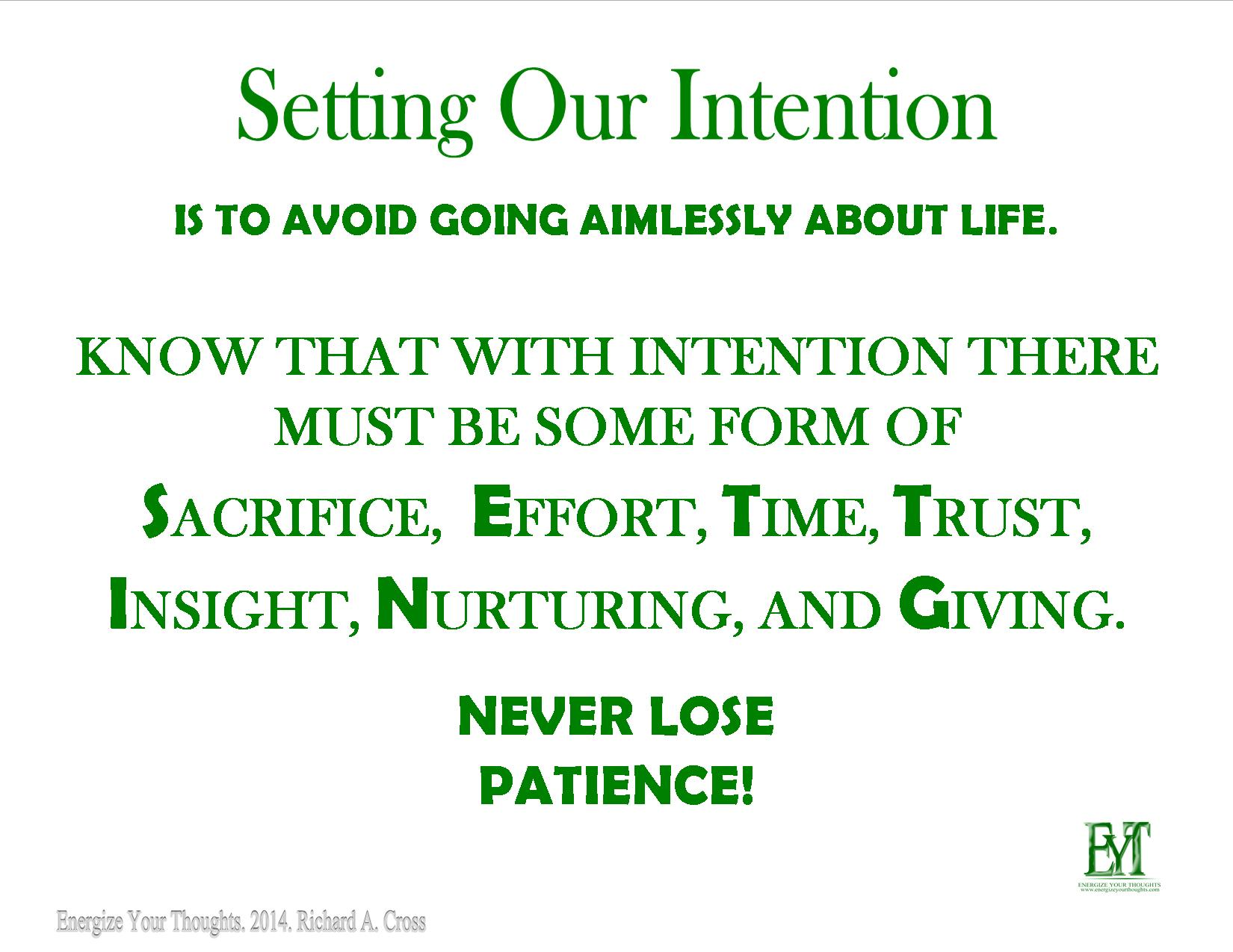 Setting Our Intention